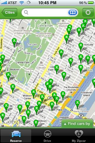 Locates Zipcar locations near you.